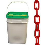 "Plastic Chain - 1-1/2"" Links - In A Pail - Red - 300 Feet - Trade Size 6"