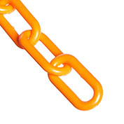 "Plastic Chain - 1-1/2"" Links - In A Bag - Safety Orange - 50 Feet - Trade Size 6"