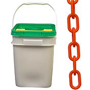 "Plastic Chain - 1-1/2"" Links - In A Pail - Safety Orange - 300 Feet - Trade Size 6"