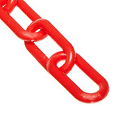 """Plastic Chain - 2"""" Links - Red - 100 Feet - Trade Size 8"""