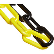 "Plastic Chain - 2"" Links - Black & Yellow - 50 Feet - Trade Size 8"