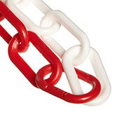 "Plastic Chain - 2"" Links - Red And White - 50 Feet - Trade Size 8"