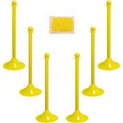 "Plastic Stanchion Kit - Yellow - 6pk 50' of 2"" Chain W/ C-Hooks Incl. - 2"" Pole, 14"" Base, 41""H"