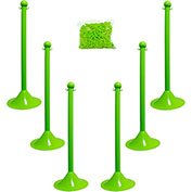 "Plastic Stanchion Kit - Green - 6pk 50' of 2"" Chain W/ C-Hooks Incl. - 2"" Pole, 14"" Base, 41""H"