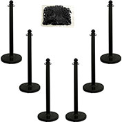 "Plastic Stanchion Kit - Black - 6pk 50' of 2"" Chain W/ C-Hooks Incl. - 2.5"" Pole, 14"" Base, 40""H"