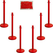 "Plastic Stanchion Kit - Red - 6pk 50' of 2"" Chain W/ C-Hooks Incl. - 2.5"" Pole, 14"" Base, 40""H"