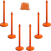 "Plastic Stanchion Kit - Orange - 6pk 50' of 2"" Chain W/ C-Hooks Incl. - 2.5"" Pole, 14"" Base, 40""H"