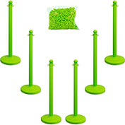 "Plastic Stanchion Kit - Green - 6pk 50' of 2"" Chain W/ C-Hooks Incl. - 2.5"" Pole, 14"" Base, 40""H"