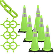 Mr. Chain Traffic Cone & Chain Kit with Reflective Collars, Safety Green, 93277-6