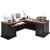 Martin Furniture L-Shaped Desk with Left Return - Southampton Onyx Office Series