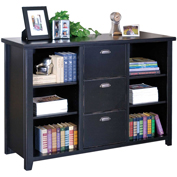 Martin Furniture Black 3-Drawer File Cabinet with Shelves - kathy ireland Home Series
