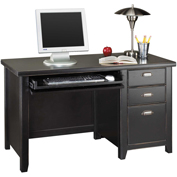 Martin Furniture Black Single Pedestal Desk - Tribeca Loft Office Series