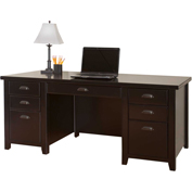 Martin Furniture Black Double Pedestal Executive Desk - Tribeca Loft Office Series