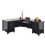 "Martin Furniture Black 68"" Desk and Return Combined Price - Tribeca Loft Office Series"