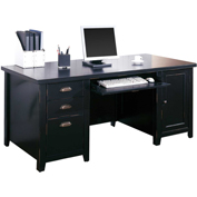 Martin Furniture Black Double Pedestal Computer Desk - Tribeca Loft Office Series