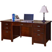 Martin Furniture Cherry Double Pedestal Executive Desk - Tribeca Loft Office Series