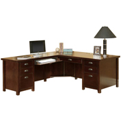Martin Furniture Cherry Left L-Shaped Desk - Tribeca Loft Office Series