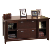 Martin Furniture Cherry Storage Credenza with sliding doors - Tribeca Loft Office Series