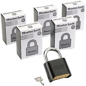 Master Lock® Bottom Resettable Combination Padlocks - No. 178blk - Pkg Qty 6