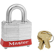 """Master Lock® 3LFRED Laminated Steel Safety Padlock, 1-9/16""""W x 1-1/2""""H Shackle, Red"""