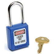 Master Lock® Safety 410 Series Thermoplastic Padlock, Blue, 410BLU