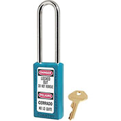 "Master Lock® Thermoplastic Zenex™ 411KALTTEAL Safety Padlock, 1-1/2""W x 3""H Shackle, Teal"