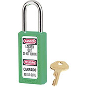 "Master Lock® Thermoplastic Zenex™ 411KAS3GRN Safety Padlock 1-1/2""W x 1-1/2""H Green 3/Set"