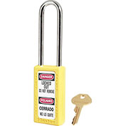 "Master Lock® Thermoplastic Zenex™ 411LTYLW Safety Padlock, 1-1/2""W x 1-1/2""H Shackle, YLW"