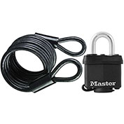 Master Lock® Self-Coiling Cable W/Cover Laminated Steel Padlock, 6'L - Pkg Qty 4