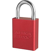 """American Lock® S1105KAS12RED Aluminum Safety Padlock, 1-1/2""""W x 1""""H Shackle, Red, 12/Set"""