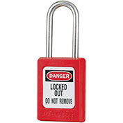 """Master Lock® Thermoplastic Zenex™ S31KARED Safety Padlock, 1-3/8""""W x 1-1/2""""H Shackle, Red"""