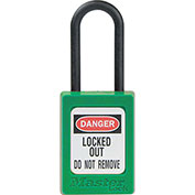 """Master Lock® Thermoplastic Dialectric Zenex™ S32GRN Safety Padlock, 1-3/8""""W x 1-1/2""""H GRN"""