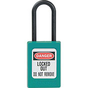 """Master Lock® Thermoplastic Dialectric Zenex™ S32TEAL Safety Padlock, 1-3/8""""Wx1-1/2""""H Teal"""