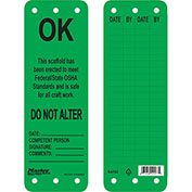 "Master Lock® Safety ""OK"" Scaffold Tags, Green - OSHA Specification, S4702"