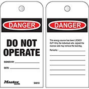 """Master Lock® Safety """"Do Not Operate"""", Boxed Roll of 100 Tags, English, S4810"""