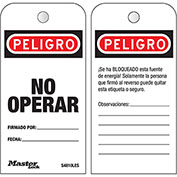 """Master Lock® Safety """"Do Not Operate"""", Boxed Roll of 100 Tags, Spanish, S4810LES"""