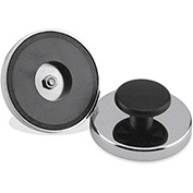 Master Magnetics Ceramic Round Base Magnets HMKR-80 with Knob 95 Lbs. Pull Nickel - Chrome Plating