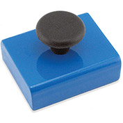 Master Magnetics Ceramic Rectangular Base Magnets HMKS-C with Knob 38 Lbs. Pull Blue Powder Coat