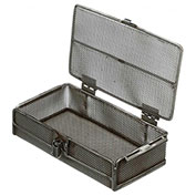 "Marlin Steel Mesh Basket with Lid 1062001-38 - Stainless Steel - 10-1/4""L x 5-5/8""W x 2-1/2""H"