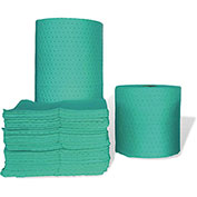 "MBT Green Fine Fiber Hazmat Medium Weight Pads 100/Bale 18"" x 15"""