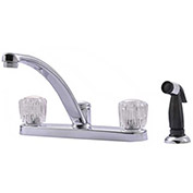 """Ultra Faucets 2 Handle Kitchen Faucet W/Side-Spray, UF20350 Chrome, 7-13/16""""H"""