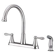 "Ultra Faucets 2 Handle Kitchen Faucet W/Side-Spray, UF21143 SS, 13""H"