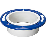 Mueller 05227 4 In. X 3 In. PVC Closet Flange Adjustable W/Metal Ring Epoxy Coated - Hub