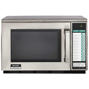 "Sharp R-24GTF - Commercial Microwave Oven, Heavy Duty, 1800W, S/S, 20-1/8""W x 18-1/2""H x 13-1/4""D"