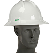 Full Brim V-Gard Hard Hat With Ratchet Suspension (White)