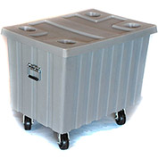 "Myton Bulk Shipping Poly Container MTE-2H5HL With Lid and Casters 41""L x 28-1/4""W x 32-1/2""H, Black"