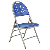 Polyfold Fan Back Triple Brace Folding Chair - Blue Seat/Gray Frame - Pkg Qty 4