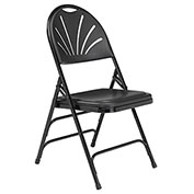Polyfold Fan Back Triple Brace Folding Chair - Black Seat/Black Frame - Pkg Qty 4