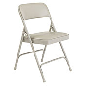 Vinyl Folding Chair - Gray Vinyl/Gray Frame - Pkg Qty 4