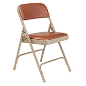 Premium Vinyl Upholstered Folding Chair - Brown Vinyl/Beige Frame - Pkg Qty 4